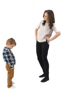 Woman disciplining her step-child.